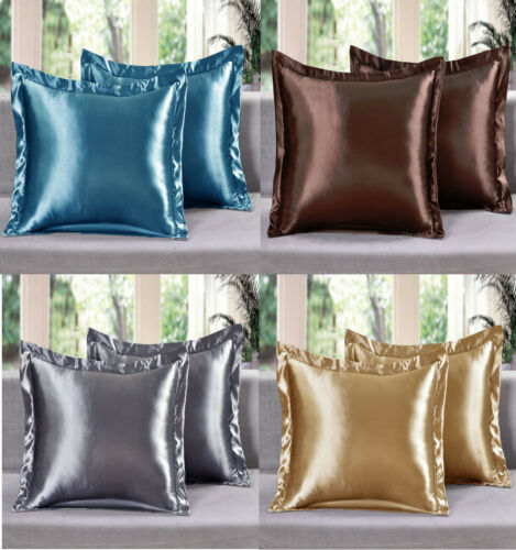 2 Piece LinenPlus Collection Euro Shams Satin Pillow Case Available All Colors Bedding