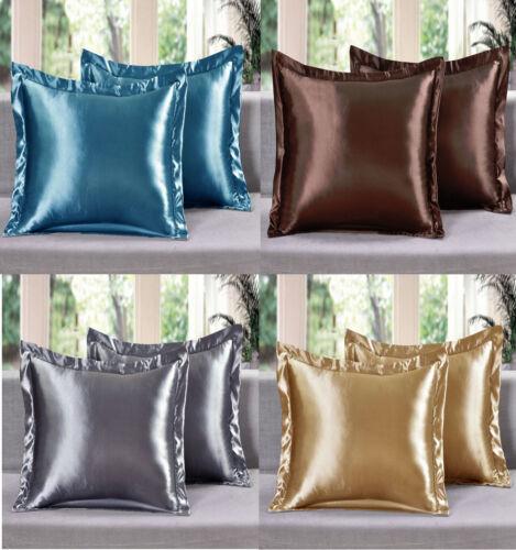 2 Piece LinenPlus Collection Euro Shams Satin Pillow Case Av