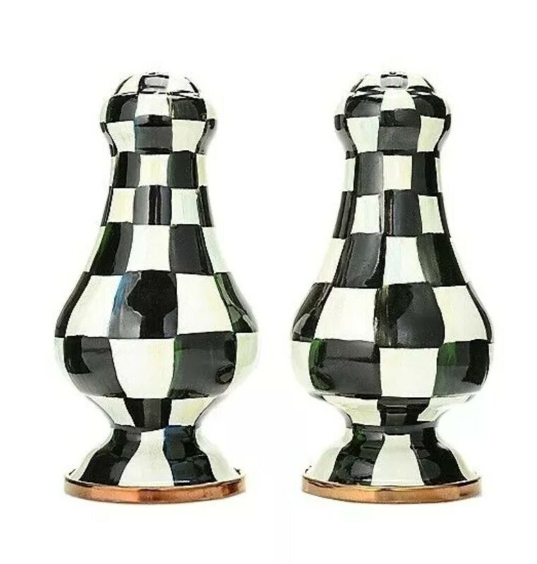 MacKenzie Childs BRAND NEW IN BOX COURTLY CHECK LARGE SET SALT & PEPPER SHAKERS