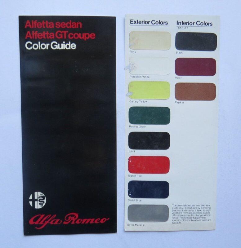 c. 1980 Alfa Romeo Color Guide Brochure Alfetta GT Spider Vintage Original