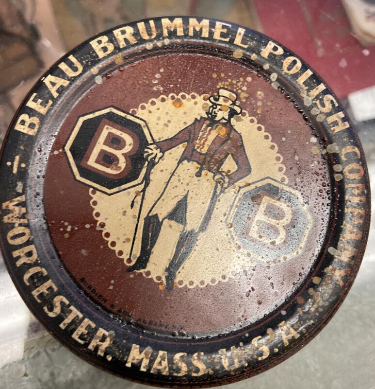 Orig 1920s BEAU BRUMMEL SHOE POLISH Brown Litho ADVERTISING TIN