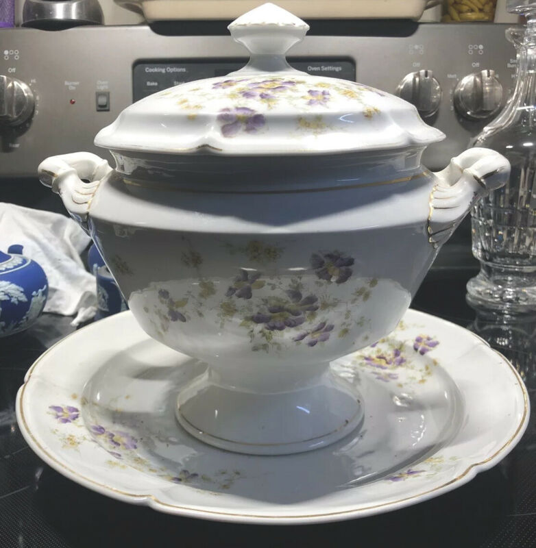 antique unstamped porcelain soup tureen With Plate.