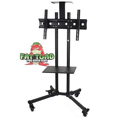 LCD TV Cart Stand Rolling AV Plasma Flat Panel Screen Mount Caster Shelf Holder