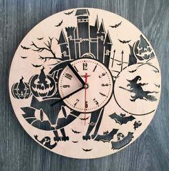HALLOWEEN Wall Clock Wall Art Silent Clock Wooden Unique Modern CL-0178