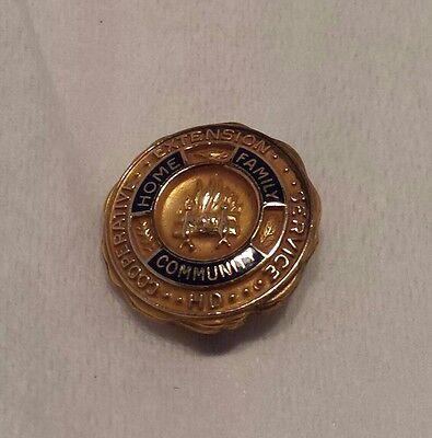 Vintage Cooperative Extension Service HD Gold Filled Enamel Lapel Pin Pinback