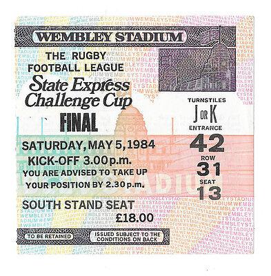1984  - Widnes v Wigan, Challenge Cup Final Match Ticket.