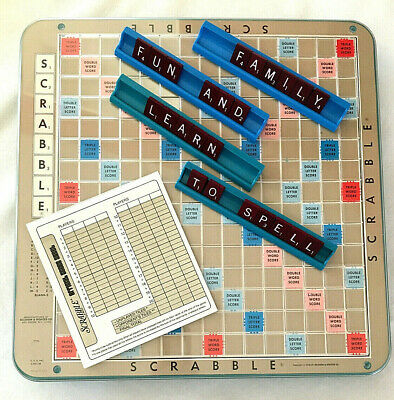 VTG Scrabble Deluxe Turntable Edition 1977 Board Game Maroon Wood Tiles Complete