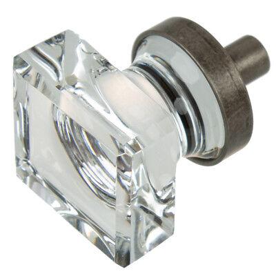 "1"" Square Glass Kitchen Cabinet Drawer Knob Aged Pewter - 900025-AP-1"