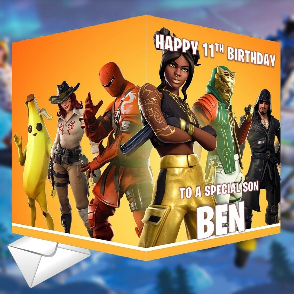 Details about Fortnite Birthday Card Season 8 PERSONALISED Any NAME, AGE or  RELATION 14x21cm
