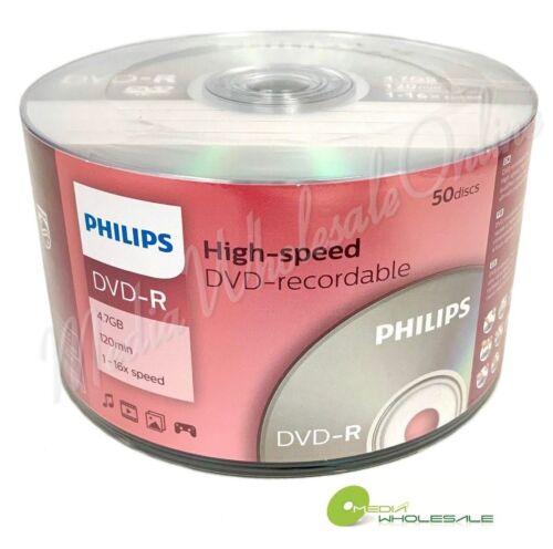 50 PHILIPS Blank 16X DVD-R DVDR Branded Logo 4.7GB Media Disc