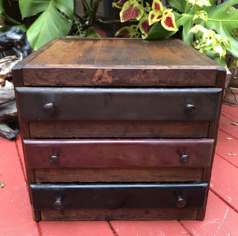 Antique Vintage Unique Handmade Wood 3 Drawer tool Box Cash Register drawers