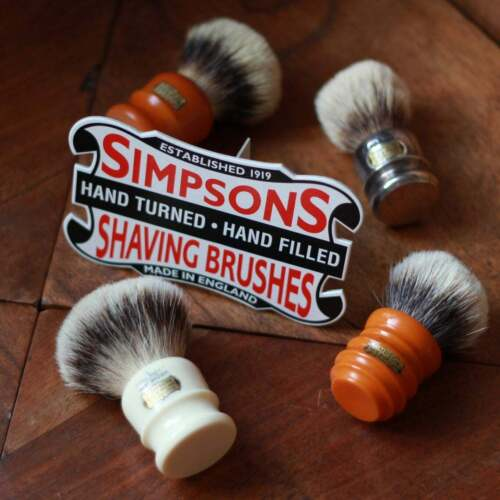 NOS Cardboard Advertising for Simpsons Badger Shaving Brushes Red White and Blue