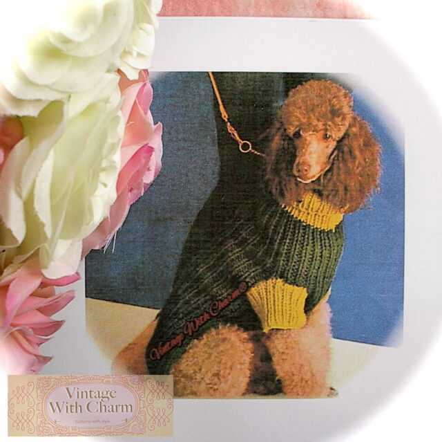 Vintage Large Dog Coat Knitting Pattern 3 Sizes For Hounds With A