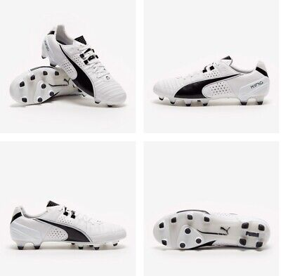 PUMA KING II FG WHITE/BLACK UK 10.5 EURO 45