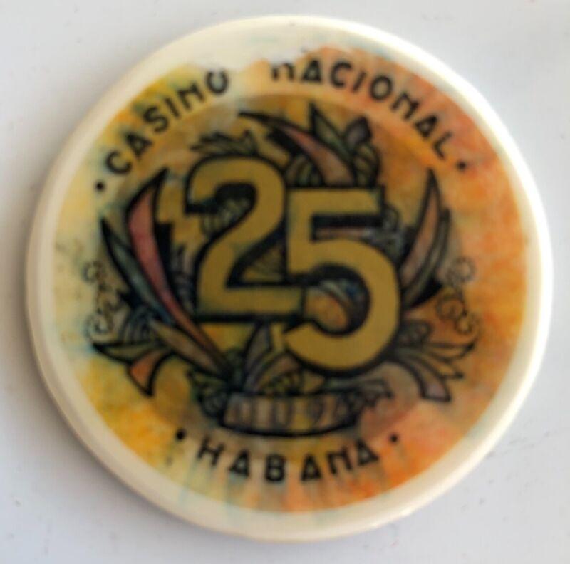 Casino Nacional Havana Cuba 25 Denomination Rare Chip