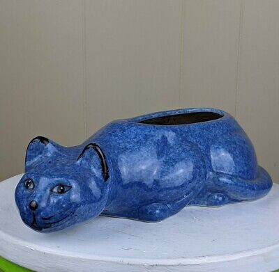 Vintage Calico China Blue Cat Planter Laying Down Cat Lady