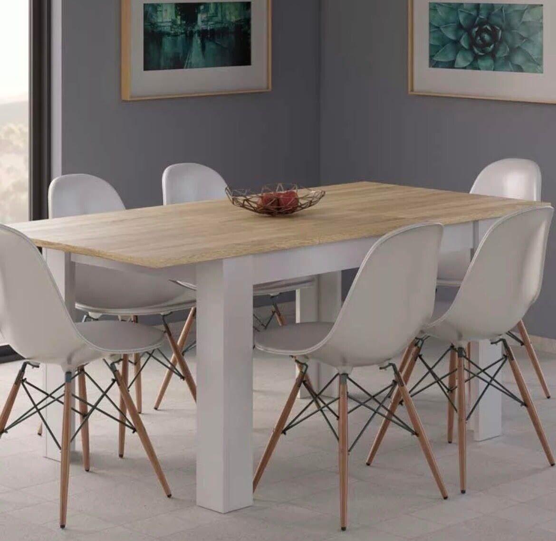 Mesa de Comedor Extensible de Color Blanco