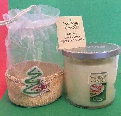 Yankee Candle CHRISTMAS COOKIE 11.5 Oz. 2 Wick Med Jar Burlap Gift Bag NWT HTF