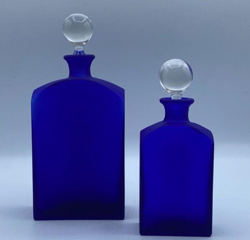 Vintage Crabtree and Evelyn Cobalt Blue Bottles 1992 Set of 2