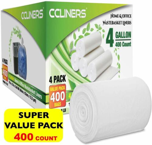 CCLINERS 4 Gallon Clear Small Garbage Bags bathroom Trash Bags, 400 Count