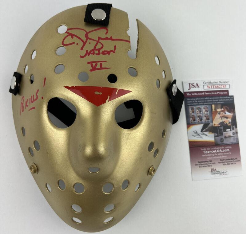CJ GRAHAM signed JASON VOORHEES MASK Friday the 13th Part VI 6 GOLD JSA Witness
