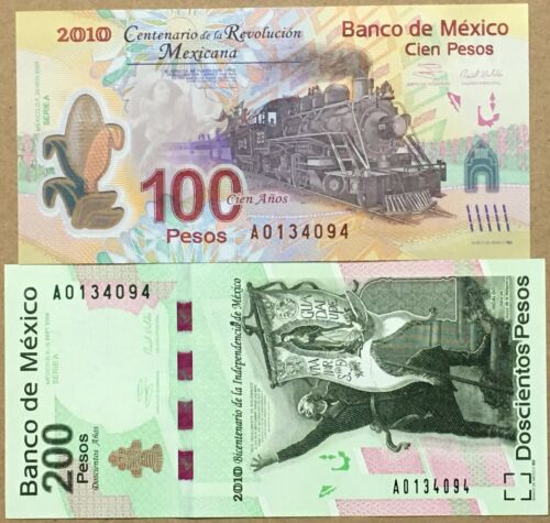Mexico 2 Commemorative Banknotes in Folder, 100, 200 Pesos, 2010 UNC