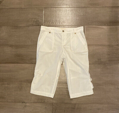 J crew broken in chino classic twill city fit white crop capris pants 6 Cotton