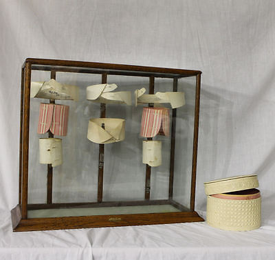 Antique Oak Showcase Vintage Collar Country Store Display Case