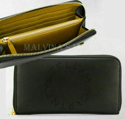 STELLA MCCARTNEY WALLET ZIP AROUND CONTINENTAL PERFORATED FAUX LEATHER LOGO