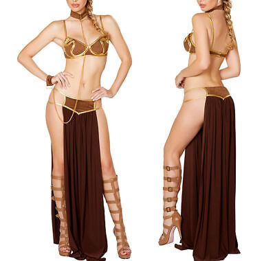 4PCS Princess Leia Slave Bikini Costume Sexy Women Star Wars Cosplay Dress - Leia Slave Bikini