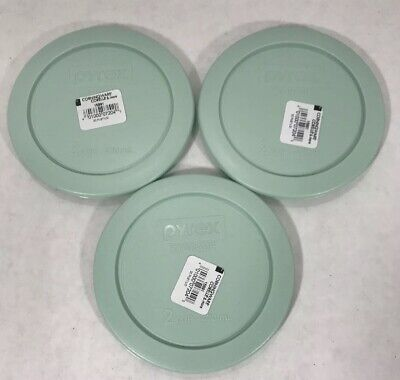 Light Blue Plastic Bowls (Pyrex 2 Cup Round Plastic Lid Covers 3 Pack for Glass Bowls- Light Blue)