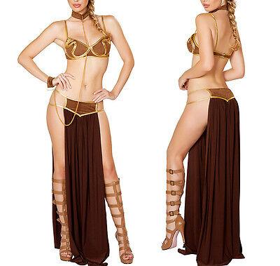 Princess Leia Slave Bikini Costume Adult Sexy Lady Star Wars Fancy Dress Outfits - Star Wars Leia Slave Costume