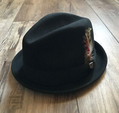 "Brixton 100% Wool Felt ""Gain"" Fedora Hat Black Size Medium 7 1/4 58cm Brixton Gain Fedora"