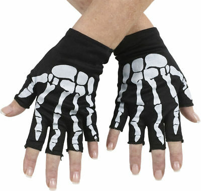 Morris Costumes Skeletons Bone Fingerless Black Pink Gloves. FW90040WP - Pink Skeleton Gloves