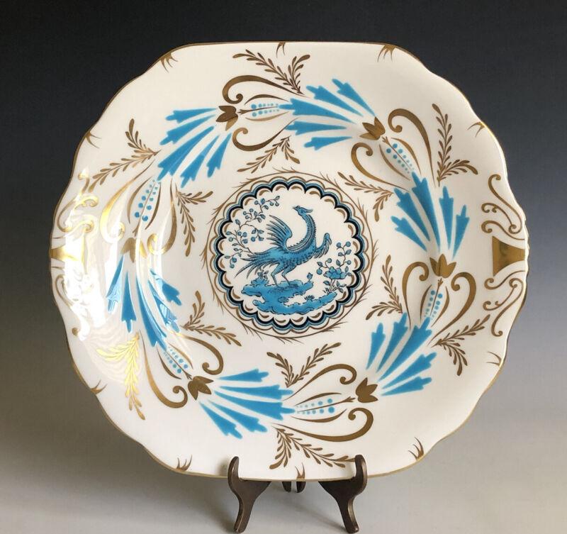 Royal Chelsea English Bone China Square Handled Cake Plate Bird Turquoise