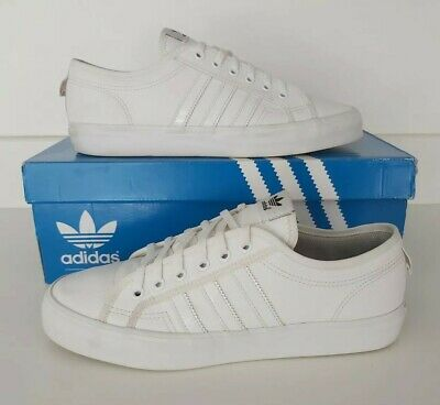 ALL WHITE ADIDAS NIZZA RARE CLASSIC RETRO LEATHER TENNIS TRAINERS MENS SIZE UK 9