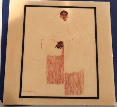 "Vintage Ceramic Art Tile 12""x12""  RC Gorman Taos Pueblo Woman #119 Indian artist"