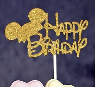 Disney Mickey Mouse Ears Gold Glitter Happy Birthday Cake Topper