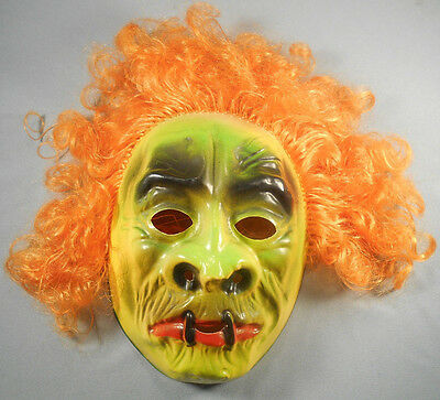 Vintage Vacuform Halloween Mask Made in Hong Kong Green Monster Orange Hair