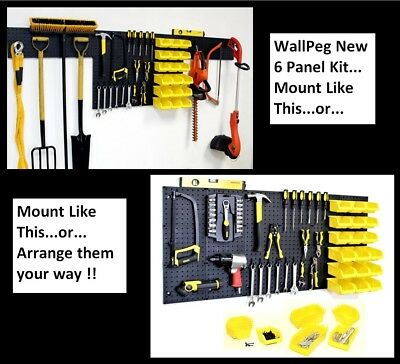 Wallpeg Pegboard Kit - 6 Panels 18 Storage Part Bins And Flex-lock Peg Hooks