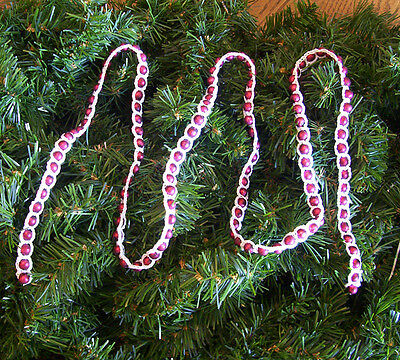 Crochet White on Matte Red Beaded Christmas Garland 4' (Crochet Halloween Garland)