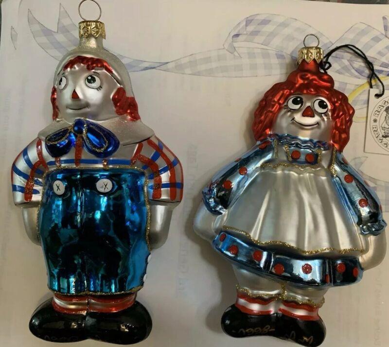 "Polonaise "" A VERY CUTE COUPLE"" Raggedy Ann and Andy- Glass Ornament A RARE PAIR"
