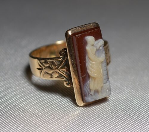 Antique Victorian 14K July 23 1881 Stone Cameo Ring ORIGINAL CONDITION Free Ship