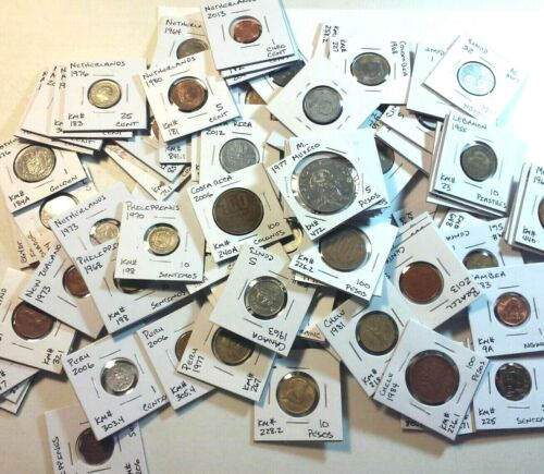 30 Nicely labeled World Coin Lot - All in 2 X 2 Coin Flips - No Duplicates