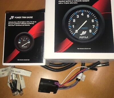 Tacho Rev Counter & Trim Gauge with 10 Pin Harness for Mercury Mariner Outboard