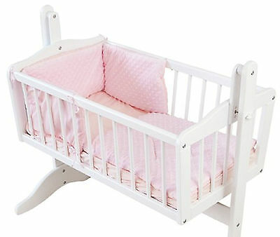 4BABY DIMPLE PINK GIRLS 2 PIECE ROCKING CRIB/CRADLE QUILT AND BUMPER BEDDING SET