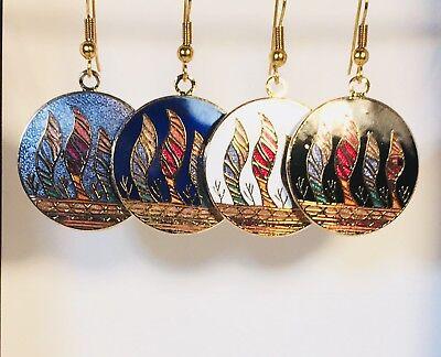 (Ocean Wave Dangle (drop) EARRINGS,Stefano Vintage Cloisonne,Colors, Gold Plate  )