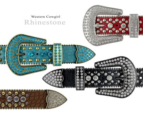 "Rhinestone Western Cowgirl Bling Studded Design Leather Belt 1-1/2"" (38mm) Wide"