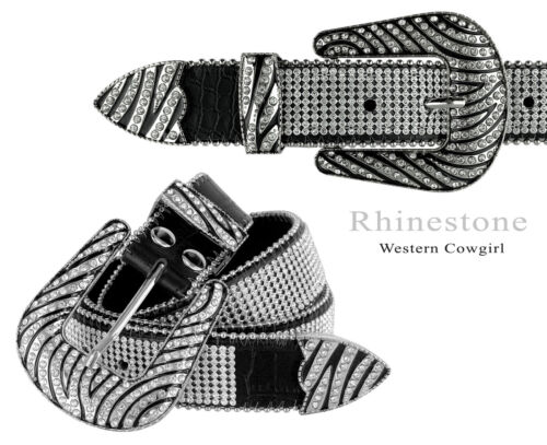 "Rhinestone Western Cowgirl Bling Dazzling Mesh Design Leather Belt 1-1/2""(38mm)"