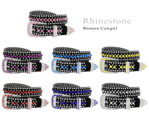 "Rhinestone Western Cowgirl Bling Studded Design Suede Leather Belt 1-3/8""(35mm)"